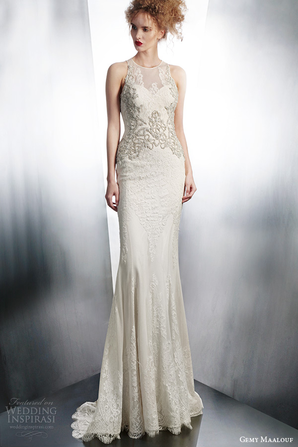 gemy maalouf winter 2015 bridal sleeveless lace sheath wedding dress embroidery style 4125