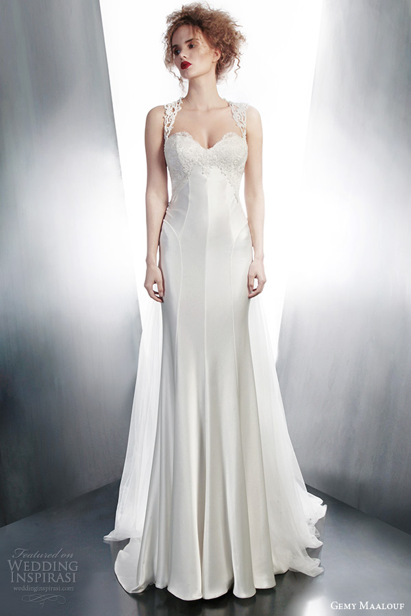 gemy maalouf winter 2015 bridal sleeveless wedding dress lace straps goring skirt style 4128