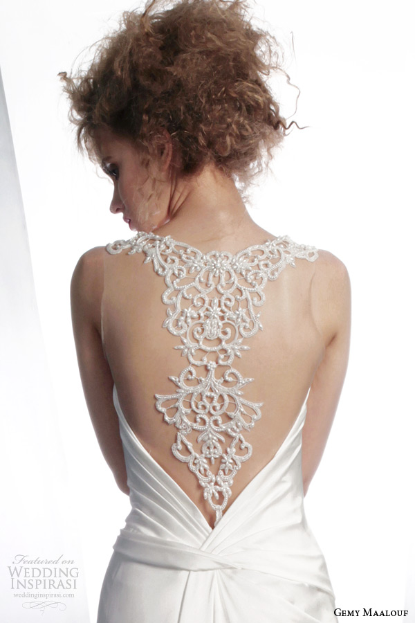 gemy maalouf winter 2015 wedding dress style 4123 beaded illusion back close up