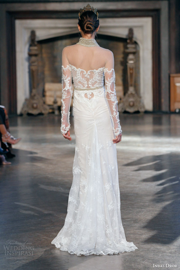 inbal dror bridal fall winter 2015 gown 1 illusion long sleeve wedding dress high slit back view