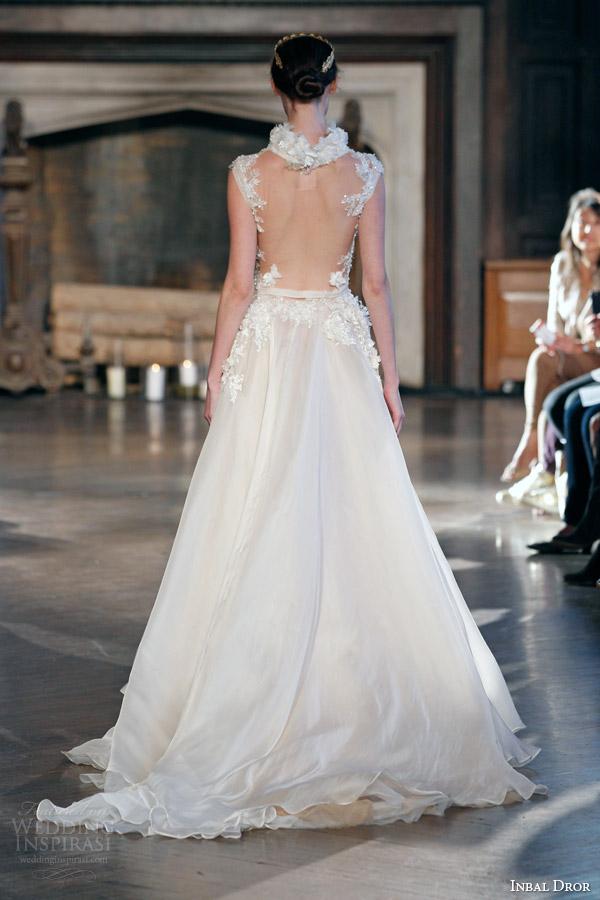 inbal dror bridal fall winter 2015 gown 12 cap sleeve wedding dress a line high neckline back view train