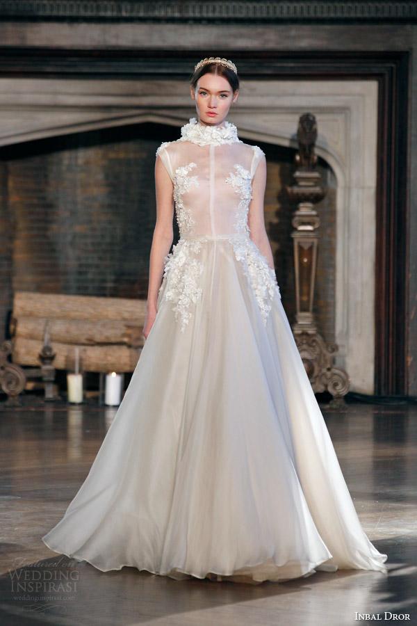 inbal dror bridal fall winter 2015 gown 12 cap sleeve wedding dress a line high neckline