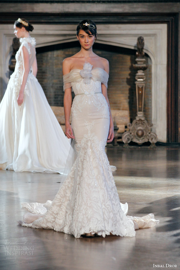 inbal dror bridal fall winter 2015 gown 13 strapless mermaid wedding dress tulle wrap