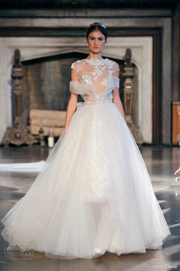 inbal dror bridal fall winter 2015 gown 14 cap sleeve tulle ball gown weding dress wrap