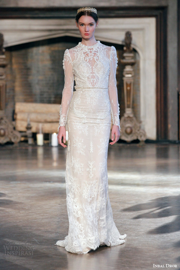 Inbal Dror Bridal Fall Winter 2015 Gown 2 High Neck Illusion Long Sleeve Sheath Wedding Dress