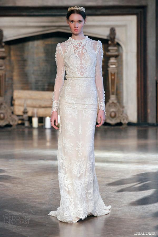 inbal dror bridal fall winter 2015 gown 2 high neck illusion long sleeve sheath wedding dress