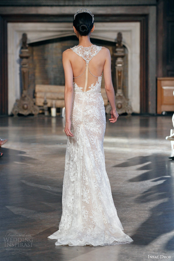 inbal dror bridal fall winter 2015 gown 3 sleeveless sheath wedding dress illusion neckline back view train