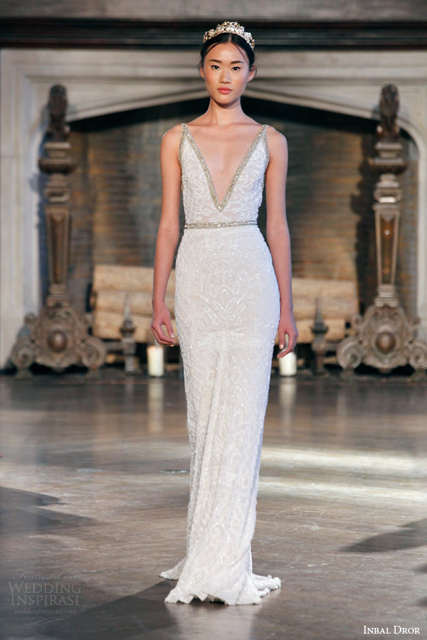 inbal dror bridal fall winter 2015 gown 5 sleeveless sequin v neck sheath wedding dress embellished straps