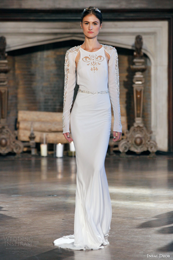 inbal dror bridal fall winter 2015 gown 7 sleeveless sheath gown long sleeve jacket