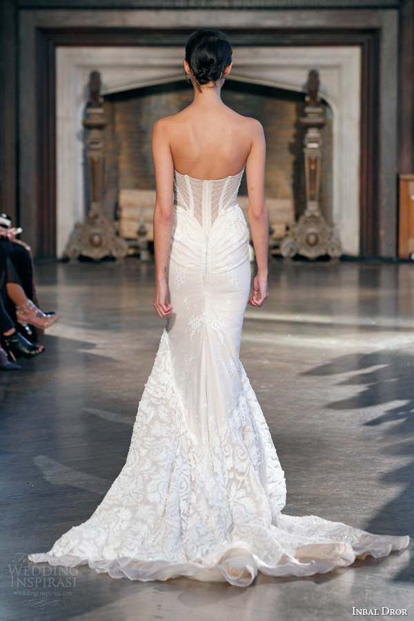 inbal dror bridal fall winter 2015 gown 9 strapless mermaid wedding dress train back view