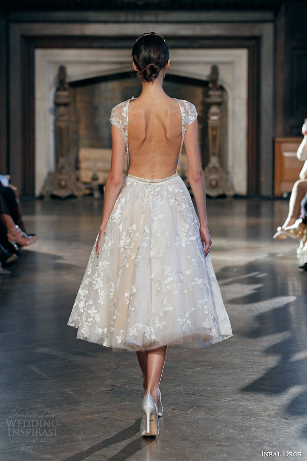 inbal dror fall winter 2015 bridal gown 18 short wedding dress sheer bodice illusion cap sleeves back view
