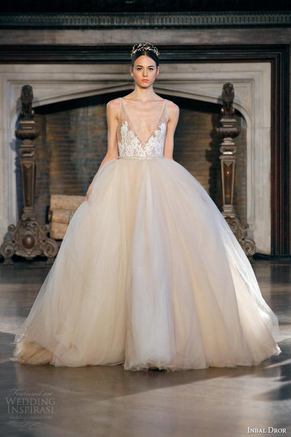 Blush Tulle Wedding Dress 3 Simple inbal dror fall winter
