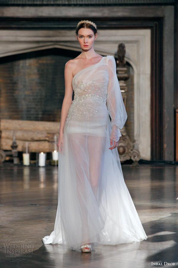 Inbal dror fall 2015 wedding dresses wedding inspirasi for Wedding dress with sheer sleeves