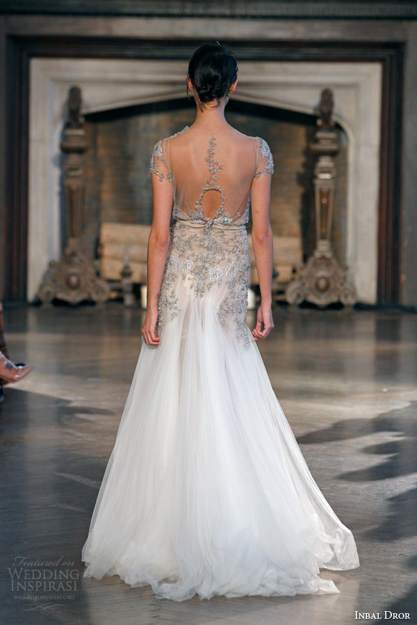 inbal dror fall winter 2015 bridal gown 21 short sleeve crystal embellished blouson wedding dress back view