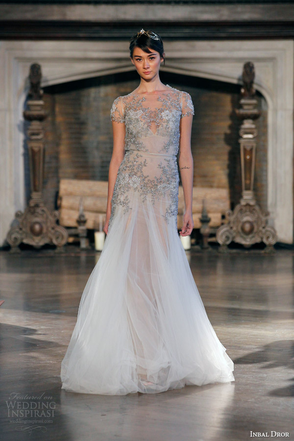 inbal dror fall winter 2015 bridal gown 21 short sleeve crystal embellished blouson wedding dress