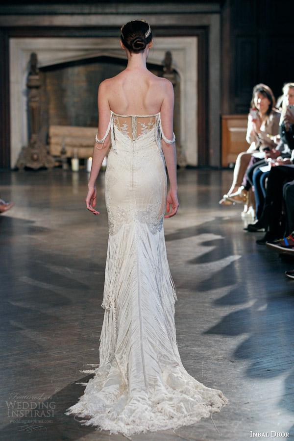 inbal dror fall winter 2015 bridal gown 23 sheath wedding dress draped bodice sleeves back view train