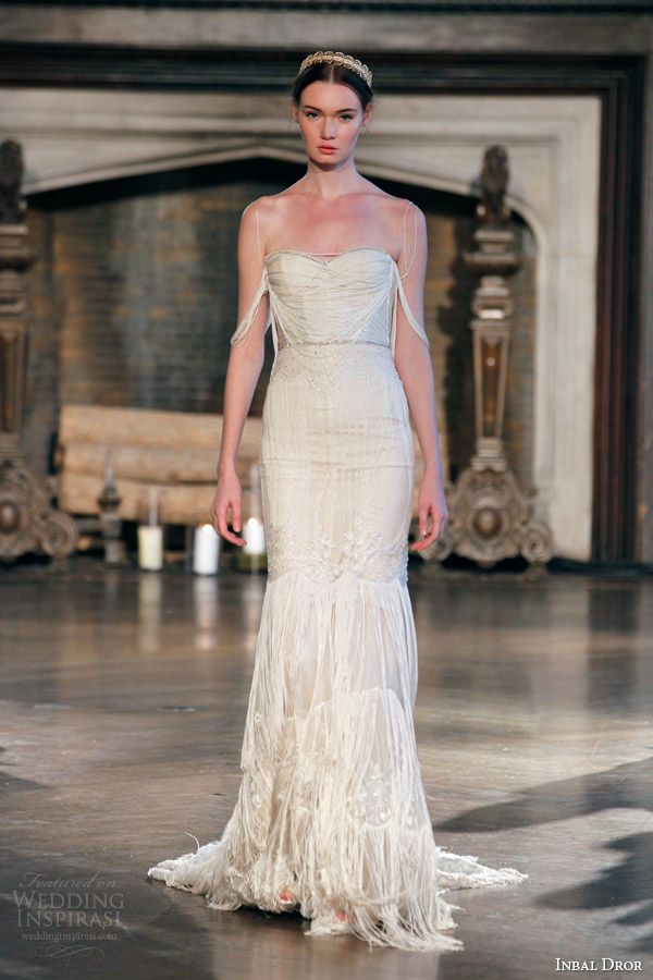 inbal dror fall winter 2015 bridal gown 23 sheath wedding dress draped bodice sleeves
