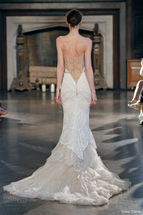 inbal dror fall winter 2015 bridal gown 24 strapless beaded mermaid wedding dress illusion lace back view