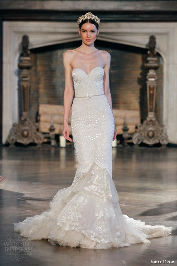 inbal dror fall winter 2015 bridal gown 24 strapless beaded mermaid wedding dress