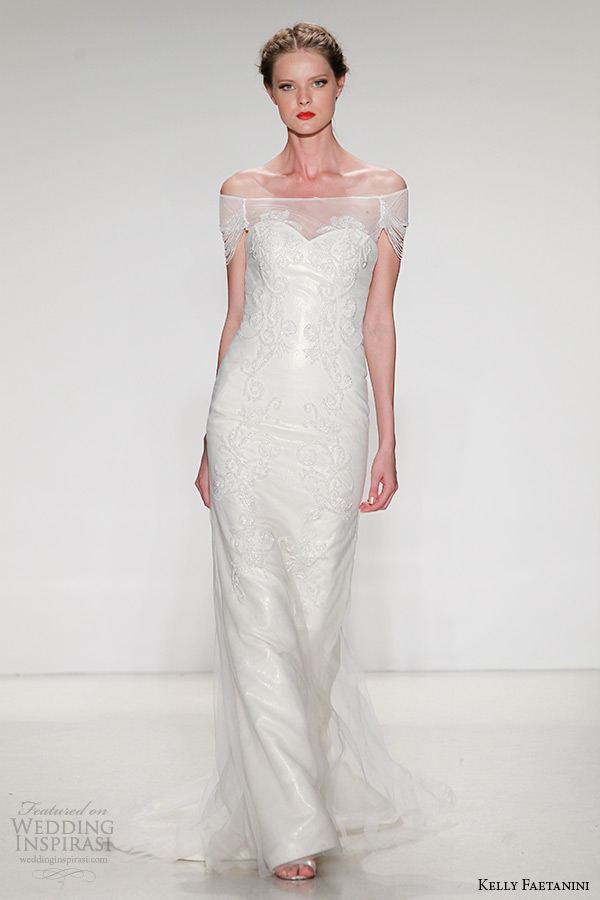 kelly faetanini wedding dress fall 2015 bridal beaded gown detachable off the shoulder neckline draped beaded sleeves sheath gown elana