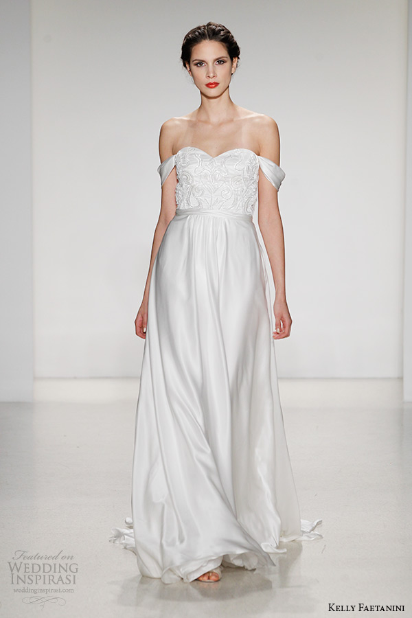 kelly faetanini wedding dress fall 2015 bridal off the shoulder a line chiffon gown draped detachable sleeves giovanna