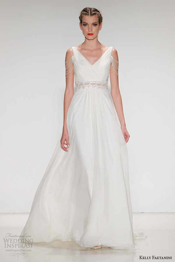 kelly faetanini wedding dress fall 2015 bridal silk chiffon a line v neck gown illusion waistband beaded fringe sleeve emeline