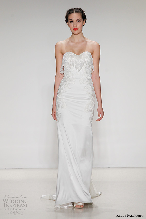 kelly faetanini wedding dress fall 2015 bridal strapless fringe neckline cut out back silk sheath gown jules