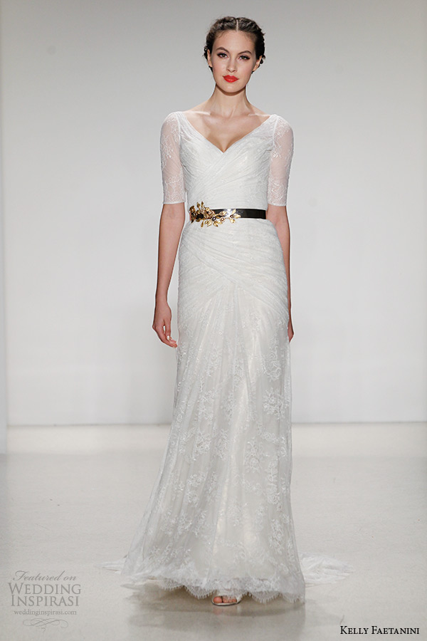 kelly faetanini wedding dress fall 2015 bridal v neck illusion half sleeves chantilly lace jorgette