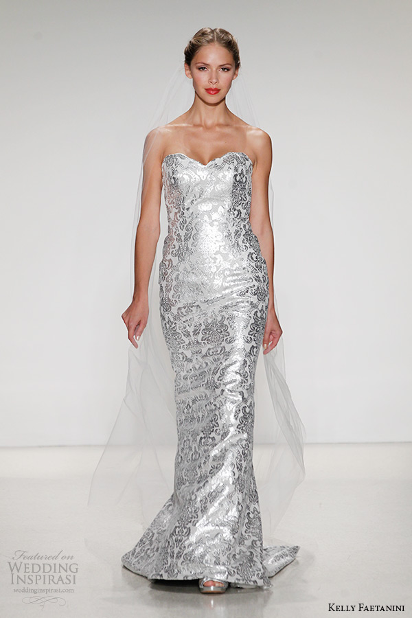 kelly faetanini wedding dress fall 2015 strapless scallop sweetheart neckline leather metallic baroque sheath gown maisa