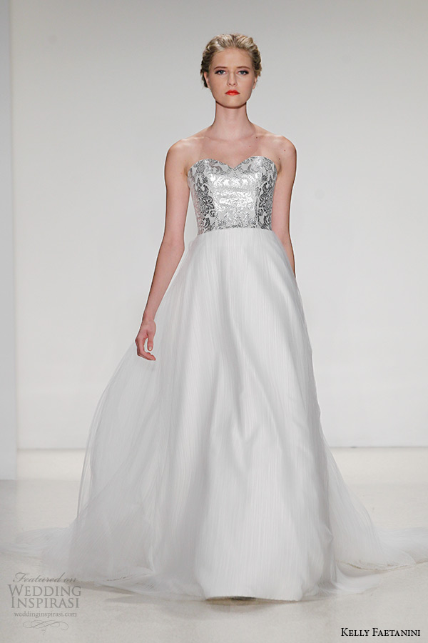 kelly faetanini wedding dress fall 2015 strapless sweetheart neckline leather bodice tulle ballgown perla