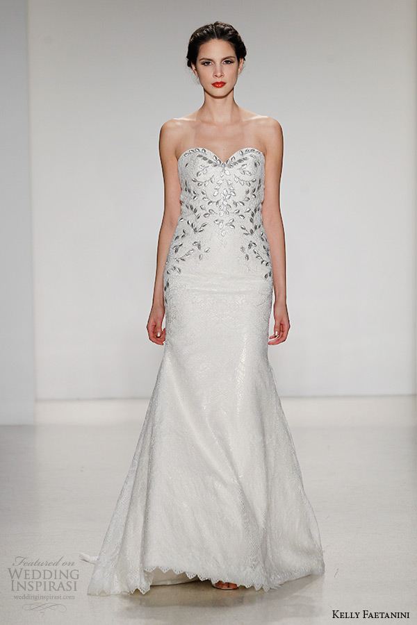 kelly faetanini wedding dress fall 2015 strapless sweetheart neckline open back metallic motif a line gown luisa