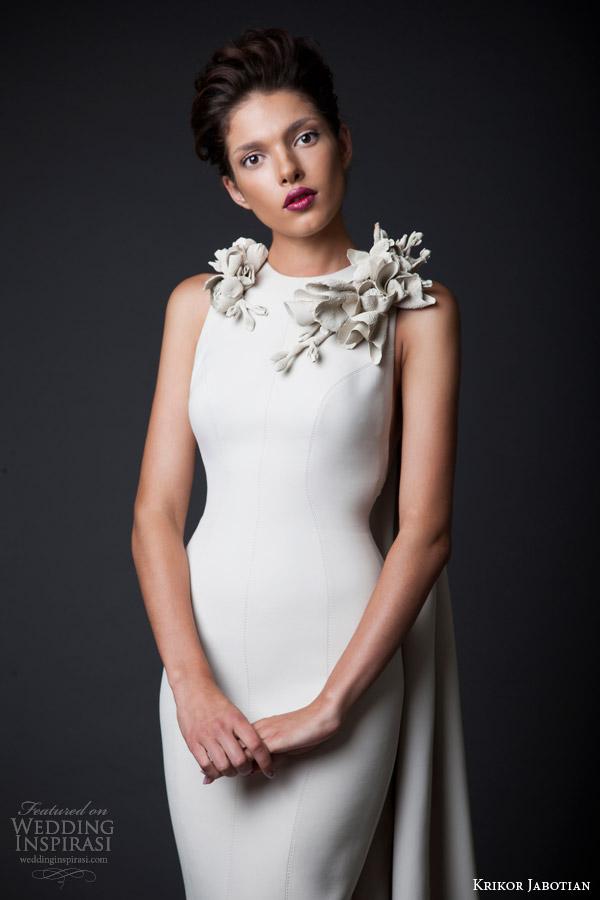 krikor jabotian couture fall winter 2014 2015 amal sleeveless column gown slit close up neckline embellishment