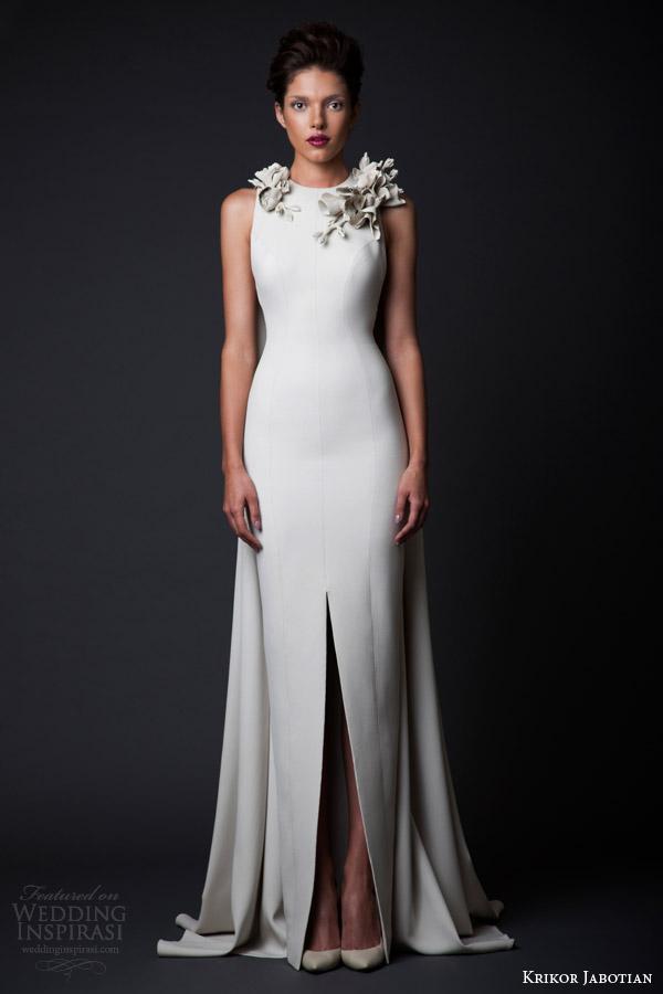 krikor jabotian couture fall winter 2014 2015 amal sleeveless column gown slit