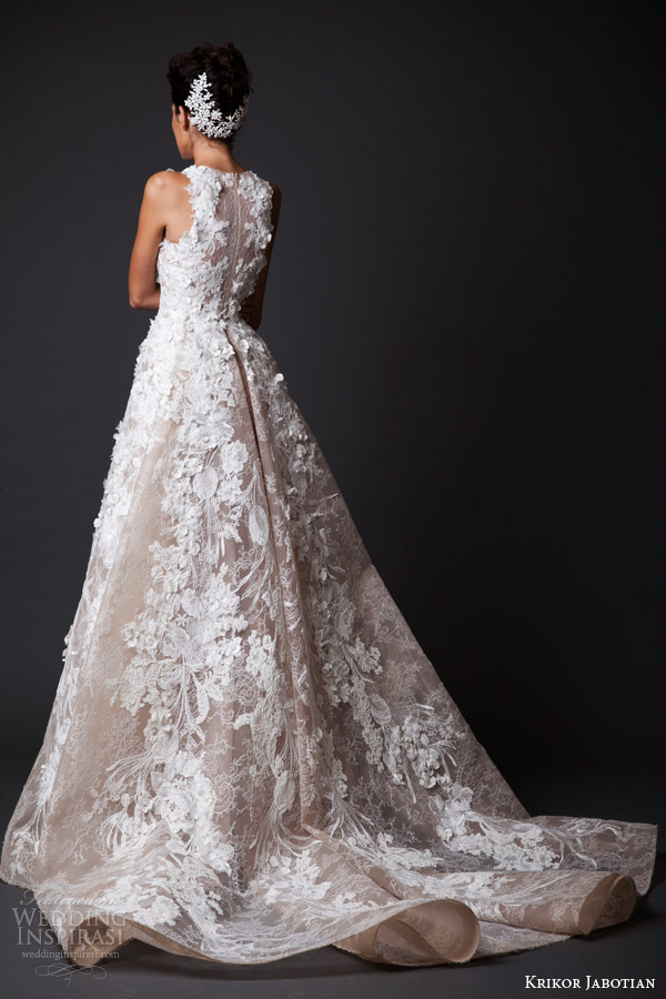 krikor jabotian fall 2014 2015 bridal couture amal sleeveless wedding dress flower applique back view train