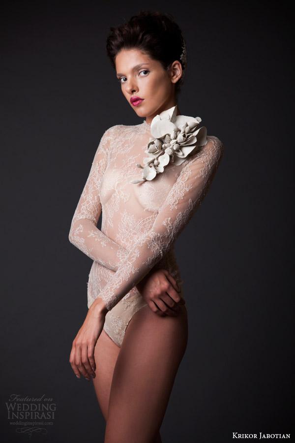 krikor jabotian fall winter 2014 2015 amal high neck long sleeve lace bodysuit