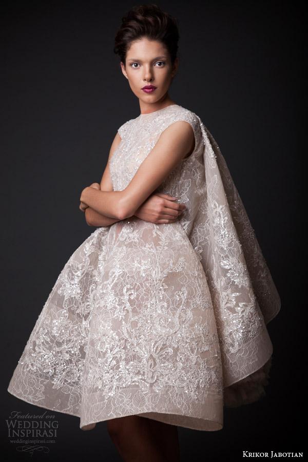 krikor jabotian fall winter 2014 2015 amal short wedding dress cape close up