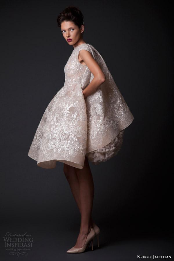 krikor jabotian fall winter 2014 2015 amal short wedding dress cape side view