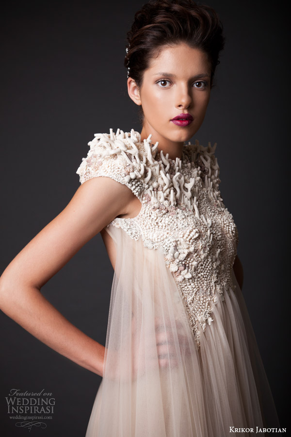 krikor jabotian fall winter 2014 2015 amal wedding dress cap sleeves close up embellishment detail