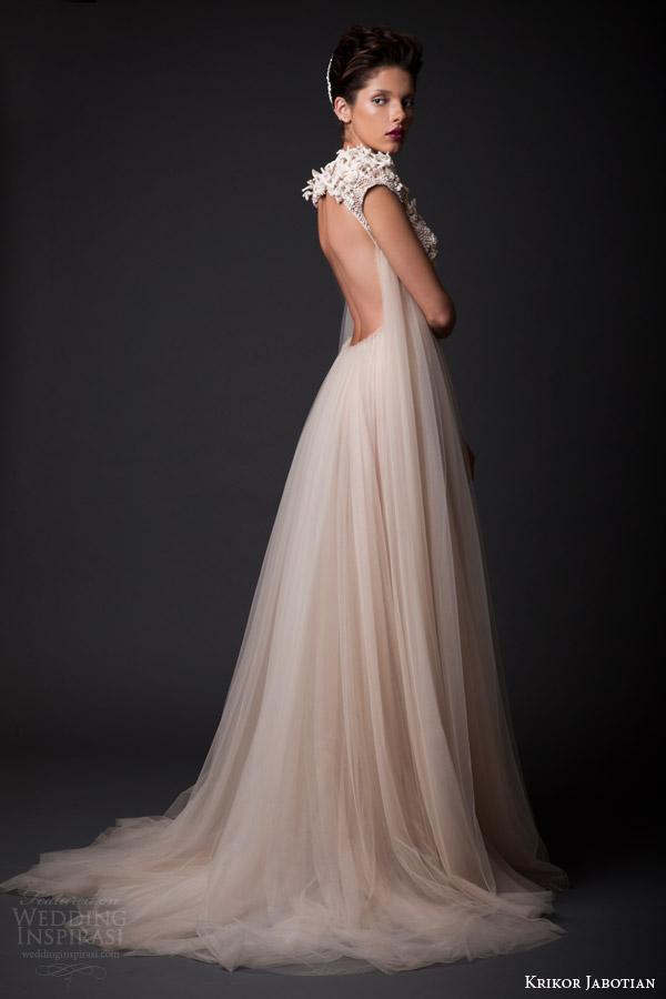 krikor jabotian fall winter 2014 2015 amal wedding dress cap sleeves side view keyhole back