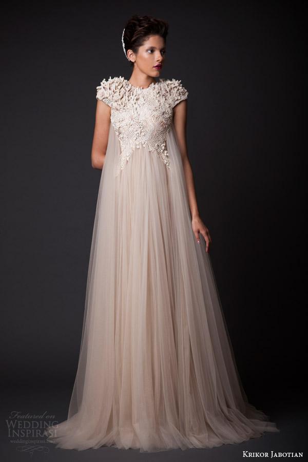 krikor jabotian fall winter 2014 2015 amal wedding dress cap sleeves
