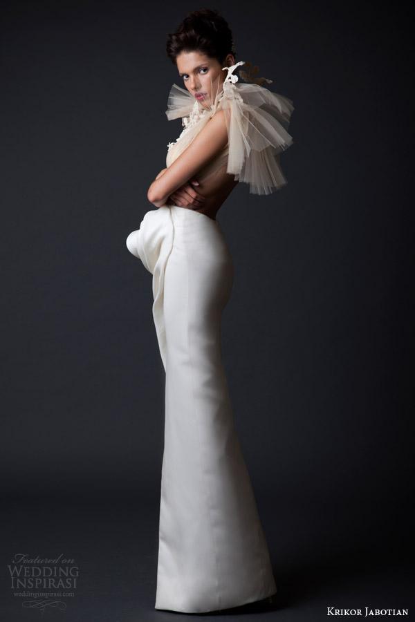 krikor jabotian fall winter 2014 2015 couture amal column gown wedding dress side