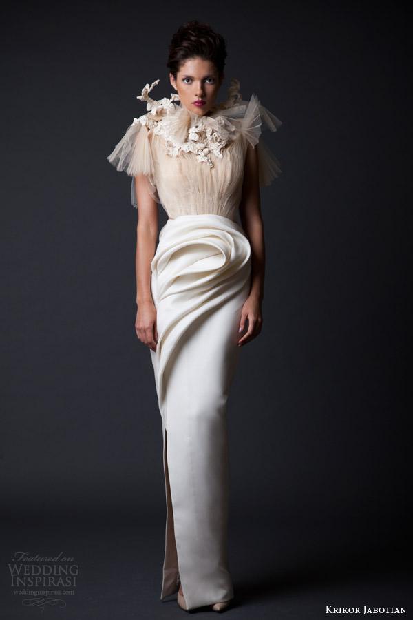 krikor jabotian fall winter 2014 2015 couture amal column gown wedding dress