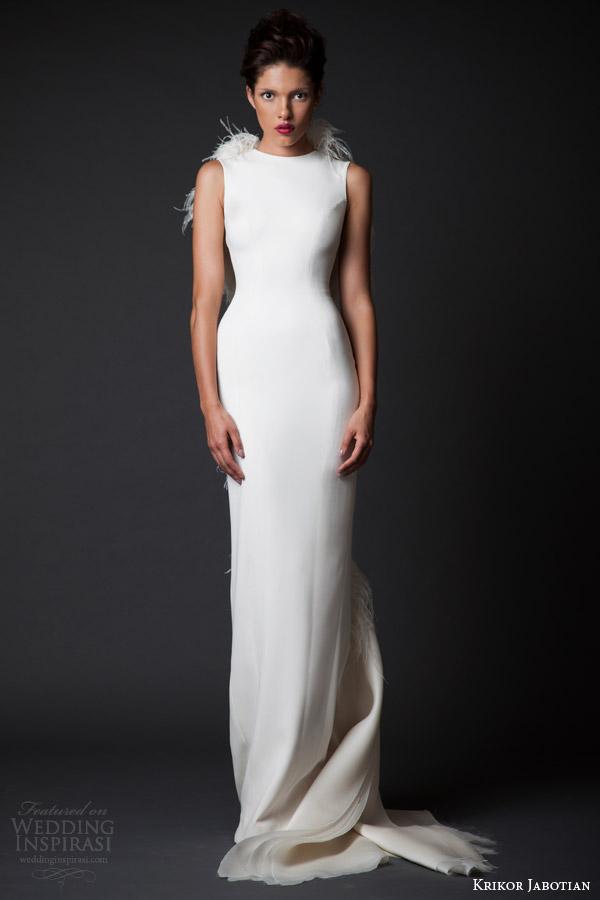 krikor jabotian fall winter 2014 2015 couture amal sleeveless column wedding dress feather wings