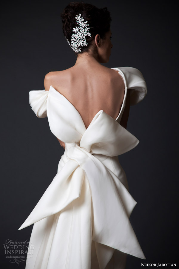 krikor jabotian wedding dresses fall winter 2014 2015 amal couture collection off shoulder gown oversized bow back view close up