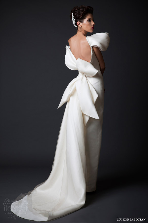 krikor jabotian wedding dresses fall winter 2014 2015 amal couture collection off shoulder gown oversized bow back view