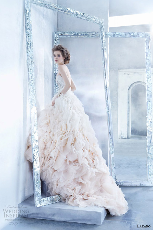 lazaro bridal fall 2014 sherbet ombre color wedding dress style lz 3450 organza flounce gown lace strapless sweetheart bodice jewel ruffled skirt flounces