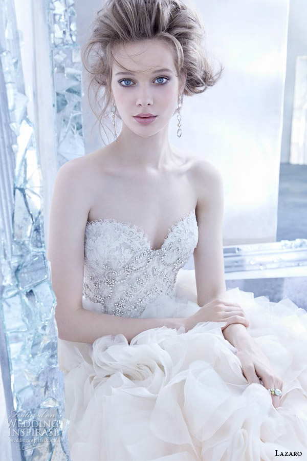 lazaro bridal fall 2014 sherbet ombre wedding dress style lz 3450 organza flounce gown lace strapless sweetheart bodice jewel ruffled skirt chapel train