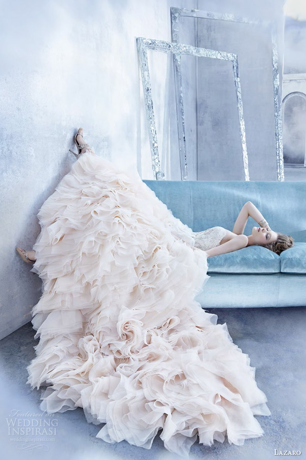 lazaro bridal fall 2014 sherbet ombre wedding dress style lz 3450 organza flounce gown lace strapless sweetheart bodice jewel ruffled skirt flounces