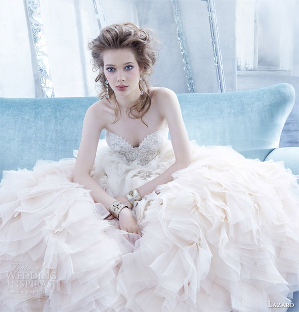 lazaro bridal fall 2014 sherbet ombre wedding dress style lz 3450 organza flounce gown lace strapless sweetheart bodice jewel ruffled skirt