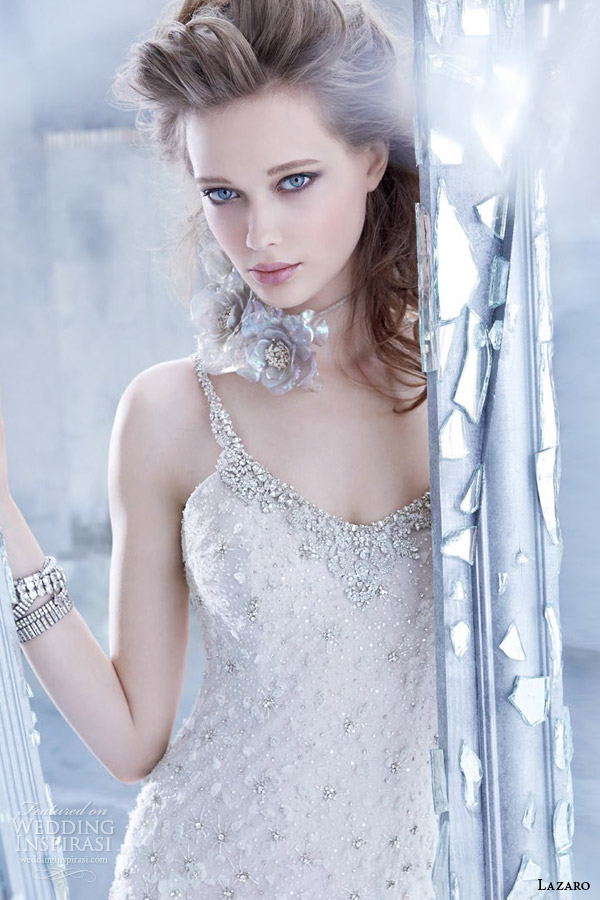 lazaro bridal fall 2014 sleeveless sheathwedding dress straps style 3451 jeweled neckline close up
